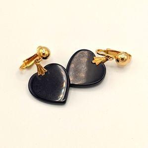 VTG Bakelite TESTED MCM Navy Heart Earrings
